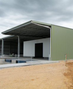 Packing shed with cantilever awning